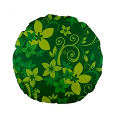 Flower Yellow Green Standard 15  Premium Round Cushions by Jojostore