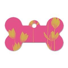 Flower Yellow Pink Dog Tag Bone (one Side) by Jojostore