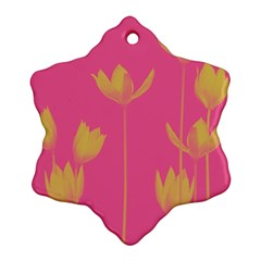Flower Yellow Pink Snowflake Ornament (two Sides) by Jojostore