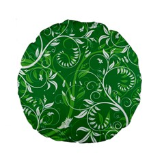 Leaf Flower Butterfly Green Standard 15  Premium Round Cushions by Jojostore