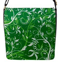 Leaf Flower Butterfly Green Flap Messenger Bag (s) by Jojostore