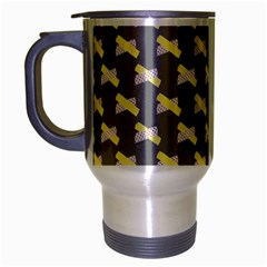 Hearts And Yellow Crossed Washi Tileable Gray Travel Mug (silver Gray) by Jojostore