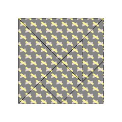 Hearts And Yellow Crossed Washi Tileable Gray Acrylic Tangram Puzzle (4  X 4 ) by Jojostore