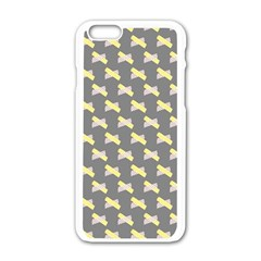 Hearts And Yellow Crossed Washi Tileable Gray Apple Iphone 6/6s White Enamel Case by Jojostore