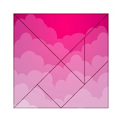 Lines Pink Cloud Acrylic Tangram Puzzle (6  X 6 ) by Jojostore