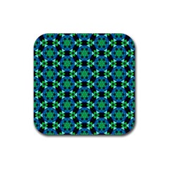 Flower Green Rubber Square Coaster (4 Pack)  by Jojostore