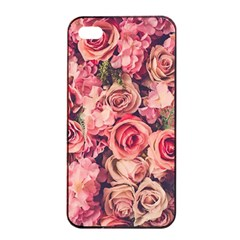 Gorgeous Pink Roses Apple Iphone 4/4s Seamless Case (black) by Brittlevirginclothing