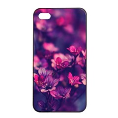 Blurry Lila Flowers Apple Iphone 4/4s Seamless Case (black) by Brittlevirginclothing
