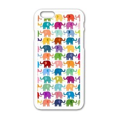 Cute Colorful Elephants Apple Iphone 6/6s White Enamel Case by Brittlevirginclothing