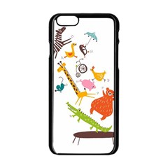 Cute Cartoon Animals Apple Iphone 6/6s Black Enamel Case by Brittlevirginclothing