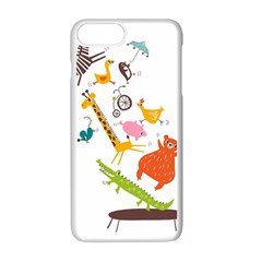 Cute Cartoon Animals Apple Iphone 7 Plus White Seamless Case by Brittlevirginclothing