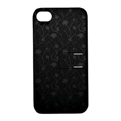 Dark Silvered Flower Apple Iphone 4/4s Hardshell Case With Stand by Brittlevirginclothing