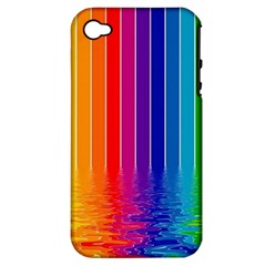 Faded Rainbow Apple Iphone 4/4s Hardshell Case (pc+silicone) by Brittlevirginclothing