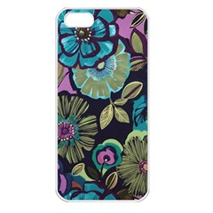 Dark Lila Flowers Apple Iphone 5 Seamless Case (white) by Brittlevirginclothing