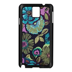 Dark Lila Flowers Samsung Galaxy Note 3 N9005 Case (black) by Brittlevirginclothing