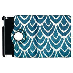 Blue Fish Scale  Apple Ipad 3/4 Flip 360 Case by Brittlevirginclothing