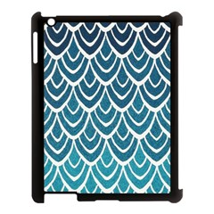 Blue Fish Scale  Apple Ipad 3/4 Case (black) by Brittlevirginclothing