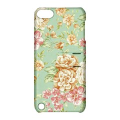 Vintage Pastel Flowers Apple Ipod Touch 5 Hardshell Case With Stand by Brittlevirginclothing