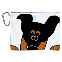 Peeping Miniature Pinscher Canvas Cosmetic Bag (XXL) by TailWags