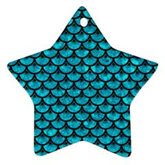 Scales3 Black Marble & Turquoise Marble (r) Star Ornament (two Sides) by trendistuff