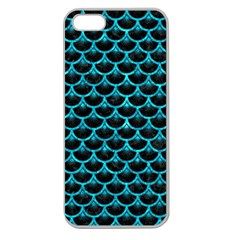 Scales3 Black Marble & Turquoise Marble Apple Seamless Iphone 5 Case (clear) by trendistuff