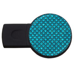 Scales2 Black Marble & Turquoise Marble (r) Usb Flash Drive Round (4 Gb) by trendistuff