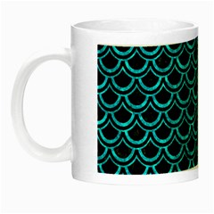 Scales2 Black Marble & Turquoise Marble Night Luminous Mug by trendistuff