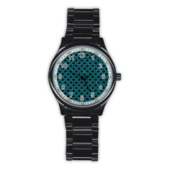 Scales2 Black Marble & Turquoise Marble Stainless Steel Round Watch by trendistuff