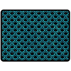 Scales2 Black Marble & Turquoise Marble Double Sided Fleece Blanket (large) by trendistuff