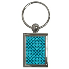 Scales1 Black Marble & Turquoise Marble (r) Key Chain (rectangle) by trendistuff