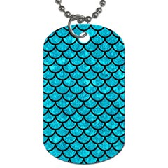 Scales1 Black Marble & Turquoise Marble (r) Dog Tag (one Side) by trendistuff