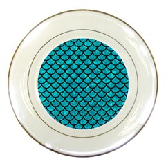 Scales1 Black Marble & Turquoise Marble (r) Porcelain Plate by trendistuff