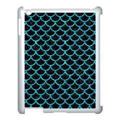 Scales1 Black Marble & Turquoise Marble Apple Ipad 3/4 Case (white) by trendistuff