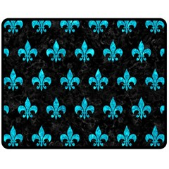 Royal1 Black Marble & Turquoise Marble (r) Fleece Blanket (medium) by trendistuff