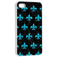 Royal1 Black Marble & Turquoise Marble (r) Apple Iphone 4/4s Seamless Case (white) by trendistuff