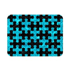 Puzzle1 Black Marble & Turquoise Marble Double Sided Flano Blanket (mini) by trendistuff