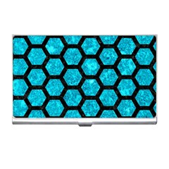 Hexagon2 Black Marble & Turquoise Marble (r) Business Card Holder by trendistuff