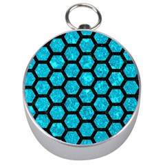 Hexagon2 Black Marble & Turquoise Marble (r) Silver Compass by trendistuff