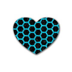 Hexagon2 Black Marble & Turquoise Marble Rubber Coaster (heart) by trendistuff