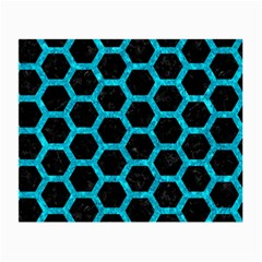 Hexagon2 Black Marble & Turquoise Marble Small Glasses Cloth (2 Sides) by trendistuff