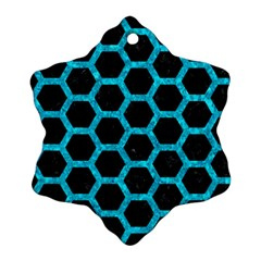 Hexagon2 Black Marble & Turquoise Marble Snowflake Ornament (two Sides) by trendistuff