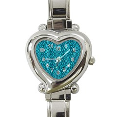 Hexagon1 Black Marble & Turquoise Marble (r) Heart Italian Charm Watch by trendistuff