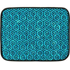 Hexagon1 Black Marble & Turquoise Marble (r) Double Sided Fleece Blanket (mini) by trendistuff