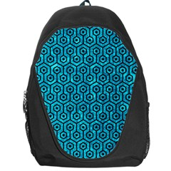 Hexagon1 Black Marble & Turquoise Marble (r) Backpack Bag by trendistuff