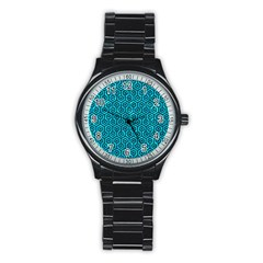 Hexagon1 Black Marble & Turquoise Marble (r) Stainless Steel Round Watch by trendistuff