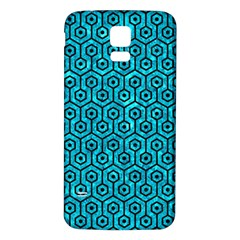 Hexagon1 Black Marble & Turquoise Marble (r) Samsung Galaxy S5 Back Case (white) by trendistuff
