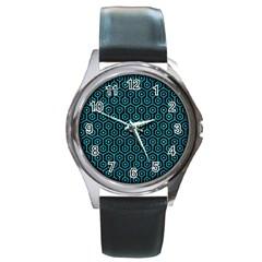 Hexagon1 Black Marble & Turquoise Marble Round Metal Watch by trendistuff
