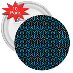 Hexagon1 Black Marble & Turquoise Marble 3  Button (10 Pack)