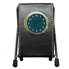 Hexagon1 Black Marble & Turquoise Marble Pen Holder Desk Clock by trendistuff