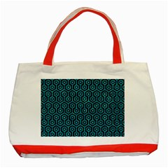 Hexagon1 Black Marble & Turquoise Marble Classic Tote Bag (red) by trendistuff